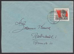Ernst Thälmann 20 Pfg. Aus Block Auf Brief DRESDEN A28 25.5.56, DDR 520 B, Als Doppelorts-Bf. Portogenau - DDR