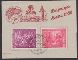First Day Cover Leipzig Messe 1950 DDR 248/49 SoSt. FDC Auf Gedenkkarte Mit Dv, MM Weltkugel Lokomotive Dampfend - [6] Democratic Republic