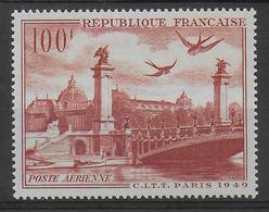 1949 - POSTE AERIENNE - YVERT N°28 ** MNH - COTE = 9 EUROS - - Airmail
