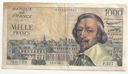 1000 Francs (Richelieu)7-3-1957 - 1871-1952 Antichi Franchi Circolanti Nel XX Secolo