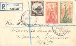 New Zealand Letter - Registered - Napier - Sellos