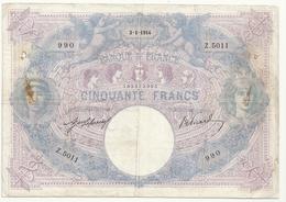50 Francs (bleu Et Rose)3-1-1914 - 1871-1952 Antichi Franchi Circolanti Nel XX Secolo