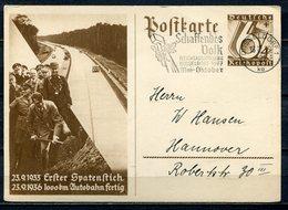"""German Empires 1936 GS WHW,Erster Spatenstich Mi.Nr.P263 Mit Propaganda  MWST""""Düsseldorf-SCHAFFENDES VOLK...""""1 GS Used - Briefe U. Dokumente"""