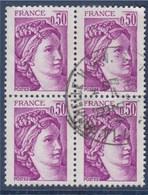 = Sabine De Gandon 50c Bloc De  4 Oblitérés N°1969 - 1977-81 Sabine De Gandon