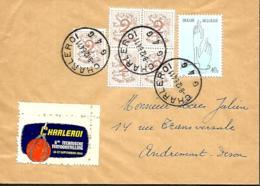 Belgique. TP  1026 A (x 5) +1224 Impr. Charleroi 4 > Andrimont  1964  Vignette Charleroi 6de Technische Tenttonstelling - Erinnophilie