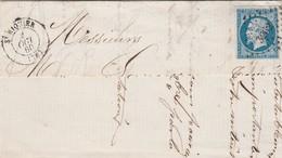 Yvert 14 Partie Lettre Sans Correspondance ST RIQUIER Somme 2/10/1860  PC 3262 - Marcophilie (Lettres)
