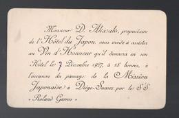 Diego-Suarez (Madagascar)  Invitation Vin D'honneur HOTEL DU JAPON 1927 Pour Le Passage Du  SS Roland-Garros (PPP21178) - Vieux Papiers