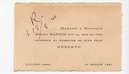 Saramon (32 Gers) Faire-part Naissance Roberte Barrez 1941  (PPP21179) - Geburt & Taufe