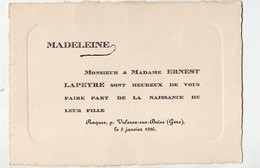 Valence Sur Baïse (32 Gers) Faire-part Naissance Madeleine LAPEYRE  1926 (PPP21180) - Geburt & Taufe