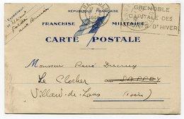 RC 14680 FRANCE WWII 1940 CARTE DE FRANCHISE MILITAIRE FM AU DRAPEAU POSTE AUX ARMÉES + TRANSIT GRENOBLE TB - Marcophilie (Lettres)