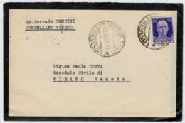 BIGLIETTO  LISTATO A LUTTO  DA  CONEGLIANO    PER MIRANO   VENETO   1944  C/ INTERNO      (VIAGGIATA) - 1900-44 Vittorio Emanuele III