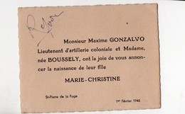 Saint Pierre De La Fage (33 Gironde) Faire-part De Naissance  Marie-christine GONZALVO-BOUSSELY  1945 (PPP21181) - Geburt & Taufe