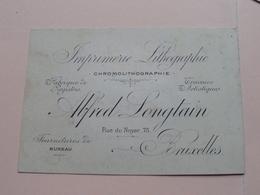 Alfred LONGTAIN ( Imprimerie Lithographie ) 75 Rue Du Noyer BRUXELLES ( Voir / Zie Photos ) ! - Cartes De Visite