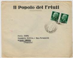 BUSTA  DA   CONEGLIANO        PER   MIRANO  VENETO   1943   C/ INTERNO  2 SCAN    (VIAGGIATA) - Storia Postale