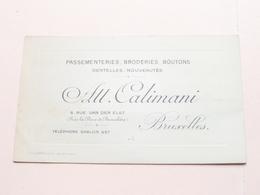 Att. CALIMANI ( Passementeries, Broderies, Boutons ) 8 Rue Van Der Elst BRUXELLES ( Voir / Zie Photos ) ! - Cartes De Visite