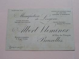 Albert VLEMINCX ( Lingerie ) 16 Rue Du Poinçon BRUXELLES & Londres ( Voir / Zie Photos ) ! - Cartes De Visite