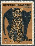 Germany München Tierpark Hellabrunn Munich Zoo Leopard Puma Vignette Poster Cinderella Reklamemarke Ludwig Hohlwein - Felinos