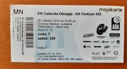 Basketball Ticket Adriatic Leaugue ABA  Basketball KK Cedevita Olimpija : KK Partizan Belgrade 26.10.2019 - Tickets - Entradas