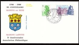 FDC – 10 Ans De L'Association Philatélique – 78 Maisons-Laffitte 22/10/1988 Année Bi Centenaire Maisons Sur Seine - FDC
