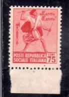 ITALIA REGNO ITALY KINGDOM REPUBBLICA SOCIALE ITALIANA RSI 1944 MONUMENTI DISTRUTTI CENT. 75c MNH - 1944-45 Sociale Republiek