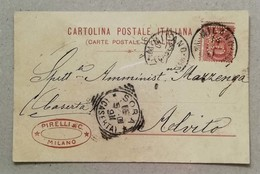 Perfin - Cartolina Postale Pirelli & C. Milano - 1901 - Marcophilia
