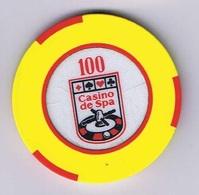 Casino Chip Fiche Jeton 100 BF Spa Belgium Belgique - Casino