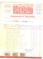 """Facture Des Ets A. DELAHAYE Papeterie Des """"Trois Pignons """" LAEKEN - BRUXELLES 1961  (safi) - 1950 - ..."""