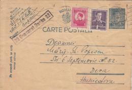 WW2, CENSORED BUZAU NR 22, KING MICHAEL STAMPS ON KING MICHAEL PC STATIONERY, ENTIER POSTAL, 1944, ROMANIA - Cartas