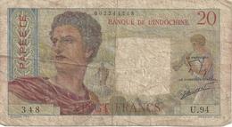 20 Francs Papeete  Banque De L'Indochine - Indochina