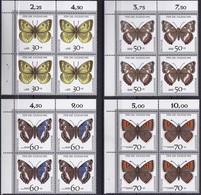 "BRD, 1991 Nr. 1512-1519 **,  8 Viererblöcke Mit Eckrand Oben Links, ""Jugend: Gefährdete Schmetterlinge"" - Nuovi"