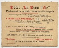 """PUBLICITE - Belgique, Hôtel """" La Rose D'Or"""" Anvers 3, Pont Aux Tourbes. Téléphone. - Etiquettes D'hotels"""