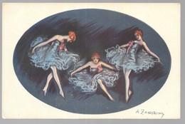 Cpa...illustrateur Italien...Zandrino .A...art Nouveau...danceuses... - Zandrino