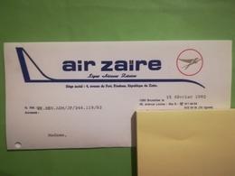 AIR ZAÏRE LETTRE À EN -TÊTE AIR CONGO TIMBRE OBLITÉRÉ OBJETS SOUVENIRS TRANSPORTS AVIATION  EX - CONGO BELGE  BELGIQUE - Aviation Commerciale