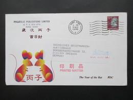 Hong Kong 1996 Printed Matter The Year Of The Rat FDC Via Air Mail Nach Dresden! - Hong Kong (...-1997)
