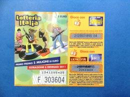 2010 BIGLIETTO LOTTERIA NAZIONALE ITALIA ESTRAZIONE 2011 I MIGLIORI ANNI EREDITA 1 MATTINA - Biglietti Della Lotteria