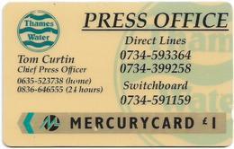 UK (Mercury) - Thames Water Press Office - 20MERB - MER139 - 5.408ex, Used - [ 4] Mercury Communications & Paytelco