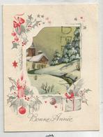 Carte Double à Fenêtre. Eglise Sous La Neige. Décorations De Noël. - Weihnachten