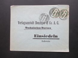 Schweiz 1903 Kreuz über Wertschild Waagerechtes Paar Winterthur  An Die Verlagsanstalt Benziger & Co. In Einsiedeln - Covers & Documents