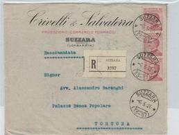 Suzzara. 1926. Annullo Frazionario (35 - 87), Su Raccomandata, Affrancata Con Striscia Di 3 Di Michetti C.60. BELLA. - Marcofilía