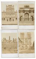 PARIS - LE LOUVRE HOTEL DE VILLE NOTRE DAME DE PARIS AVEC SA FLECHE ARC DU CARROUSEL - CDV PHOTOS - LOT DE 4 - Anciennes (Av. 1900)