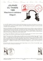 DOCUMENT FDC 1985 JOURNEE DU TIMBRE DAGUIN - Documents Of Postal Services