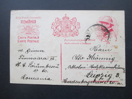 Rumänien 1922 Ganzsache P 78 Krönungskarte Nach Leipzig An Die Orthofon Holzblasinstrumenten Fabrik - Covers & Documents