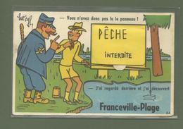 CARTE POSTALE SYSTEME  14 CALVADOS FRANCEVILLE PLAGE PECHE INTERDITE - France