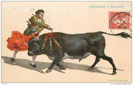 ANX1    138 .. VARIANTE ECRITE  TAUREAU   .ESTOCADA  A  VOLAPIE  ESPAGNE CORRIDA. TOREADOR Datée 1909 - Stieren