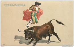 ANX1    139 .. TAUREAU   .SALTO DEL TRASCUERNO    ESPAGNE CORRIDA. TOREADOR  1909 - Stieren