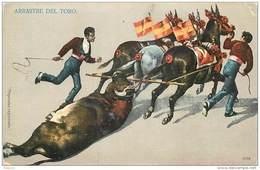 ANX1    141 .. TAUREAU   ARRASTRE  DEL  TORO   ESPAGNE CORRIDA. TOREADOR  1900 - Taureaux