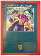 POC1    001    CREDIT LYONNAIS   50 X 33   Signé Paulin, Couple Au Nid D'oiseaux  Moisson  Poche à Courrier  Banque - Placas De Cartón