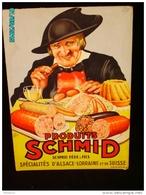 POC1    026  . .PUBLICITE. SCHMID SPECIALITES SUISSES  ET ALSACE LORRAINE  Signé Charles GARRY Carton 40x28  Gastronomie - Pappschilder