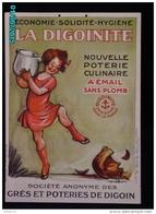 POC1    029  ..Signé POULBOT   POTERIE CULINAIRE  LA DIGOINITE Carton De  53x38  Digoin  Fillette Cuisine Vers 1900 - Pappschilder