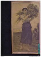 POC1   042  . BELLE FEMME MOISSONNEUSE  Dorures  42 X 24  Offert Par PUZENAT  BOURBON LANCY  AGRICULTURE TRACTEURS BLES - Reclame